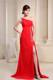 Beading and Brush Train Red Chiffon Prom Gown of one Shoulder and High Slit