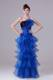Latest Long Prom Dresses Decorated with Flower and Layers in Black and Royal Blue