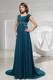 Teal Column Square Beading Accent on Brush Train Chiffon Prom Dresses