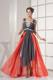 Colorful Empire Floor length Prom Gown of High-low with Beading and Straps