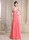 V-cut Neck and Back Straps Beading Cut Out Waist Long Watermelon Prom Gown