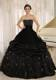 Black Strapless Dress for Sweet 15 with Appliques and Pick-ups