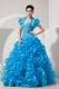 Baby Blue A-line Sweetheart Beading and Ruffles Dress for Sweet 15