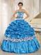 Aqua Blue Beaded Quinceanera Dress with Pick-ups and Printing