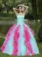 Colorful Sweetheart Quincenaera Dress For Graduation With Beading