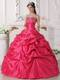 Coral Red Ball Gown Sweetheart Beading Quinceanera Dress with Pick-ups