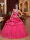 Halter Top Taffeta Puffy Ball Gown Quince Dress in Hot Pink