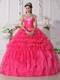 Hot Pink Strapless Quinceanera Dress with Embroidery and Beading