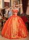 Pretty Ball Gown Corset Back Appliques Orange Quince Dresses