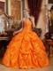 Orange Ruched Puffy Floor-length Taffeta Quince Dresses