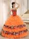 Orange Ruffles and Appliques Sweetheart Leopard Quinceanera Dress