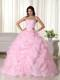 Pink Ball Gown Strapless Organza Pick-ups Beaded Quinceanera Dress