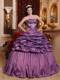Unique Purple Lace-up Taffeta Quince Dresses with Embroidery