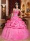 Sweetheart Ruched Taffeta Quince Dresses with Appliques
