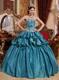 Teal Ball Gown Sweetheart Pick-ups Appliques Quinceanera Dress