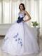 White Ball Gown Halter Appliques Quinceanera Dress with Hand Flowers