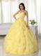 Yellow Sweetheart Organza Quince Dress Appliques and Layered Ruffles
