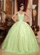 Yellow Green Ball Gown V-neck Tulle and Taffeta Beading Quince Dress