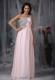 Baby Pink Empire One Shoulder Floor-length Beaded Pageant Dresses