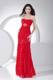 Beading Red Chiffon Prom Dress For Formal Pageant Dresses Ankle-length