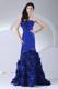 Flowers Strapless Mermaid Brush Train 2013 Blue Pageant Dresses