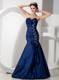 Exquisite Navy Blue Mermaid Pageant Dress Sweetheart Beading and Ruching