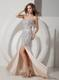 Champagne Mermaid Sweetheart Brush Train Pageant Dresses with Rhinestones