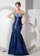 Modern Navy Blue Mermaid Pageant Dress with Ruching and Beading