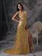 Low Price Gold Empire V-neck Pageant Dresses Sequin Beading and Ruching