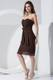 Simple Brown 2013 Party Dress With Sweetheart Bowknot Knee-length