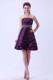 2013 Princess Strapless Dark Purple Beaded Party Dresses Knee-length
