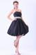 Navy Blue Knee-length Prom Party Dresses With Strapless Beaded Belt