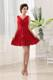 Simple Red Princess V-neck Ruched For Party Dress With Mini-length