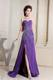 Purple Column Sweetheart Party Dress With Beading High Slit Brush Train