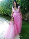 Beautiful Deep V Neckline Evening Dress with Appliques and Hot Sale Rose Pink Little Girl Dress with See Through Scoop