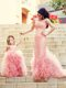 Exclusive Column Long Sleeves Evening Dress with Brush Train and Affordable Ruffled and Laced Little Girl Dress in Watermelon Red