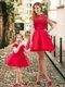 Feminine High Neck Backless Evening Dress in Red and Beautiful Mini Length Little Girl Dress with Cap Sleeves