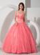Sweet Organza Puffy Sweet sixteen dresses with Beaded White Appliques