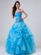 Ruche Ruffles and Pick-ups Sweet 15 Dresses with Beaded Purple Appliques