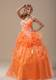 Hand Made Flowers Quinceanera Dresses in Orange with White Appliques