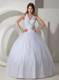 White Halter Top Quinceanera Dresses with Shining Diamonds For Quince