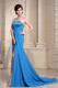 Pretty Asymmetrical Neckline and Sequins Bodice Prom Dresses