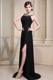Little Black Bateau Beading and High Slit Prom Dresses Discount