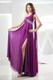 One Shoulder with Flowers Ruched Column Fuchsia Prom Dress