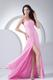 Pink Beading and Ruching Decorate Bodice High Slit Prom Dress