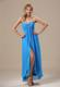 Aqua Blue Corset Back High Slit Column Prom Dresses for Cheap
