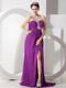 Beaded One Shoulder High-low Chiffon Prom Dress in Purple