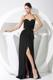 Pretty Halter Top Black V-neck Column Prom Dress for Cheap