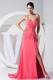Rose Pink One Shoulder with Beadings Empire Sweep Train Prom Dress