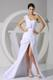 Classical White One Shoulder High Slit Ruched Prom Dresses